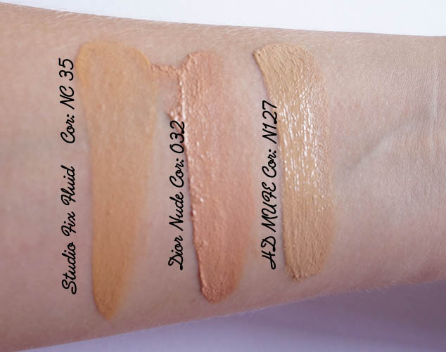 Swatches: Studio Fix Fluid, Dior Nude, HD MUFE