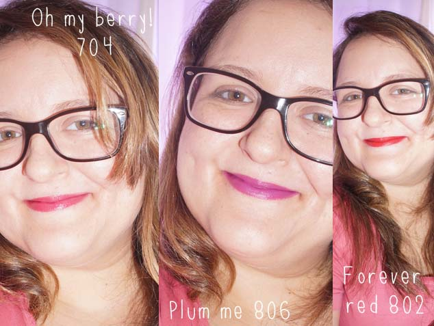 Batons Hydra Extreme Maybelline Plum me, Oh My Berry e Forever Red