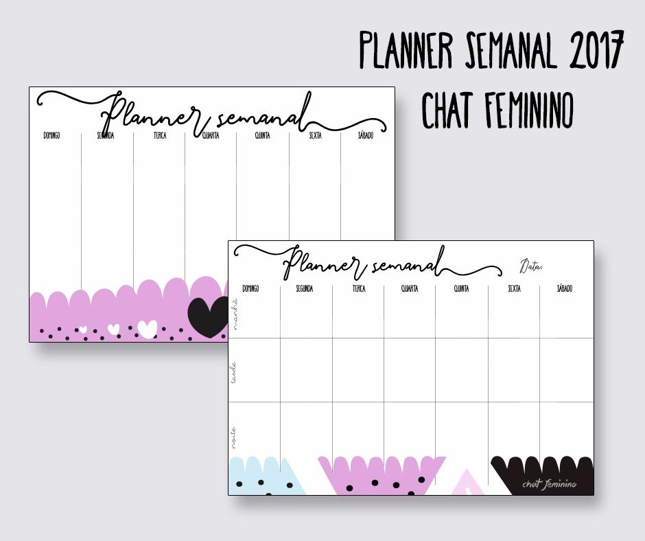 Planner semanal - chat feminino